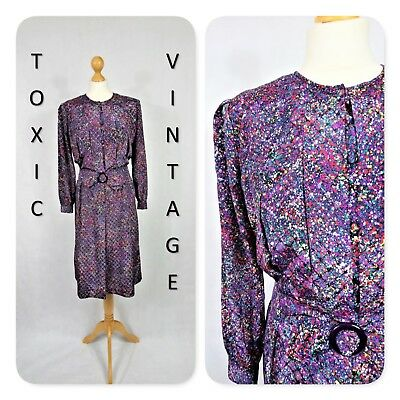 VINTAGE 1980s PURPLE DITSY LAYERED BELTED DRESS. UK 12. RETRO, CHIC, BOHO KITSCH