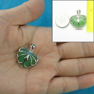 Hand Crafted Love & Heart Cabochon Green Jade in Sterling Silver 925 Pendant TPJ