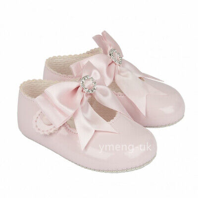 Gorgeous Baby Girl Pink Big Bow Diamante Buckle Patent Pram Shoes/Soft material