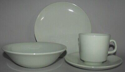 Johnson of Australia Green Cup Saucer Side Plate & Bowl = Breakfast Set 4 Pieces