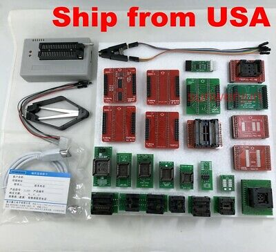 XGecu TL866II Plus Programmer for Flash NAND EPROM+25 adapters+clip ship from US