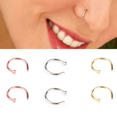 2Pcs Nose Ring Fake Hoop Silver Gold 6mm /8mm Surgical Steel Thin Piercing