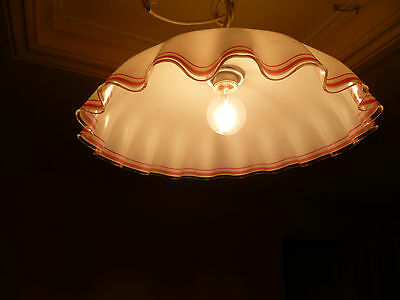 Vintage French, Large, Art Deco, White & Red Domed Glass Pendant Light Fitting