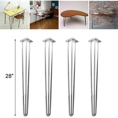 """4x Premium Hairpin Table Chair Legs 28"""" Steel 3 Prong w/ FREE Screws Guide"""