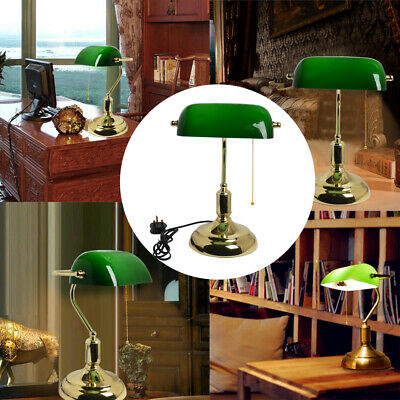 3/ 1x Large Traditional Bankers Lamp Green Antique Brass - Desk Lamp Table Light