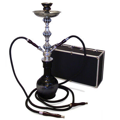 The 26'' 2 Hose Black Diamond Hookah Shisha With a Premium Carry Case