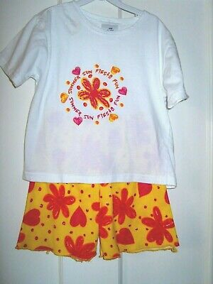 Matching Shorts Outfit In Pink/Yellow/Orange And White  3 - 4  Yrs