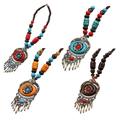 Vintage Ethnic Jewelry Boho Style Long Sweater Chain Necklace Pendants Blue D1A1