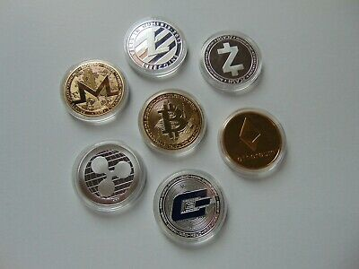 7 Crytoccurency Coins Set - Bitcoin Ethereum Liteoin Monero Dash Ripple Zcash