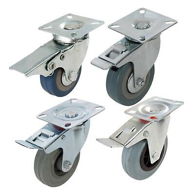 Heavy Duty Swivel Rubber Castor Caster Wheels Cart Wheel 50 75 100 125mm