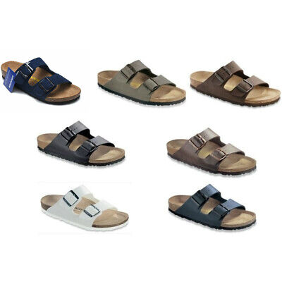 Birkenstock Arizona Sandals - Conventional - Blue Brown Black White Birko-Flor