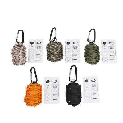 1pcs paracord survival carabiner fishing kit with sharp eye knife dark color XM