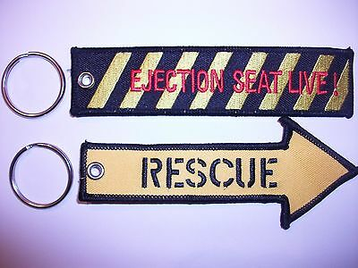 RAF Pull To Eject /Ejection Seat Live & Rescue Embroidered Key Rings . Free P+P.