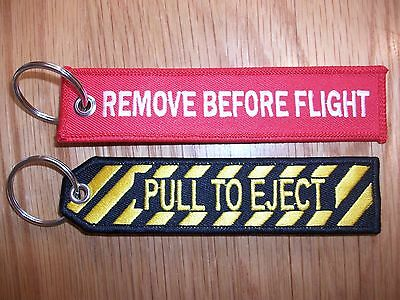 Remove Before Flight and Pull To Eject Key Rings  x2   uk seller free p+p