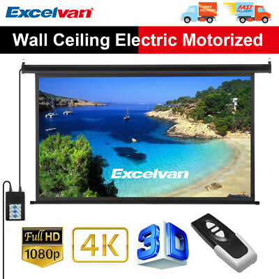 """100"""" Inch 16:9 HD 3D 4K Electric Motorized Projector Screen Home Cinema Theater"""