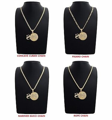 Men Rope Figaro Mariner Cuban Link Chain with Sniper Gang SG Pendant