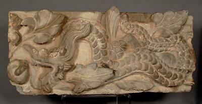 Ancient Chinese Palace or Temple Brick with Dragon & Lotus Relief Tang Dynasty