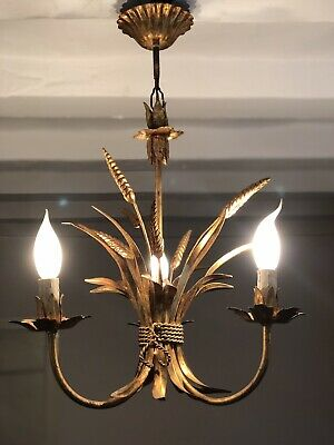 Vintage French Gilt Toleware Wheat Sheaf Ceiling Light
