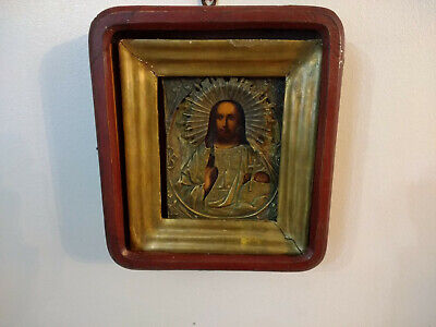 Antique Russian Orthodox Religious Icon With Wood Case Encased Kiot Jesus Christ