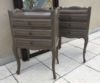 French Louis Style Cabinets Bedside Tables Nightstands Painted In Rustic Cocoa