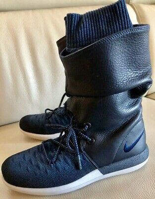 low priced 73120 c16e9 NWOB Nike Roshe Two Hi Flyknit High Top sneaker Boots Navy Blue Size 8