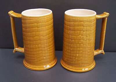 A Decorative Pair of New Devon Pottery Crocodile Pattern Tankards / Large Mugs