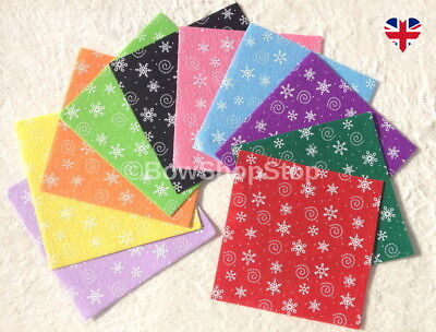 Christmas Felt Fabric Squares 15cm by 15cm Sheets for Bows & Crafts
