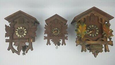 3 West German Clock Lot ~ E. Schmeckenbecher ~ Cuckoo Clock Mfg Co ~ Hubert Hurr