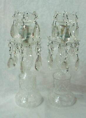 Pair of Antique Cut Crystal Glass Candle Lamps,Girandoles,Mantel Lusters. NR