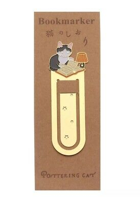 Cat Bookmark Metal Cat Lover Gift Pottering Cat Gold Book Page Marker New UK