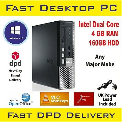 Fast Cheap Dell/Hp Desktop Pc Dual Core Computer Windows 7 2Gb 80Gb Hdd Office