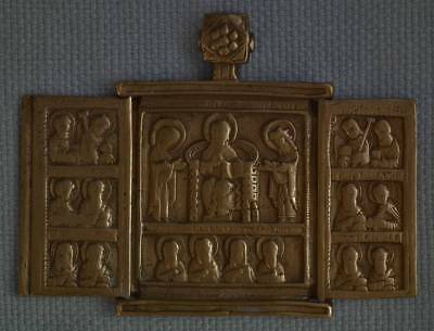 Authentic Antique Russian Eastern Icon Orthodox Bronze Triptych 17th century