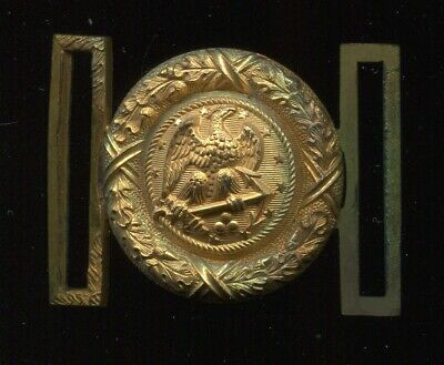 3016 Us Spanish American War Naval Officer Belt Buckle 3 Cannon & 13 Stars
