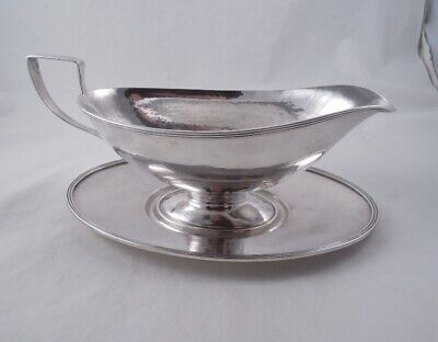 Lebolt Sterling Silver Arts & Crafts Hammered Gravy Sauce Boat And Underplate