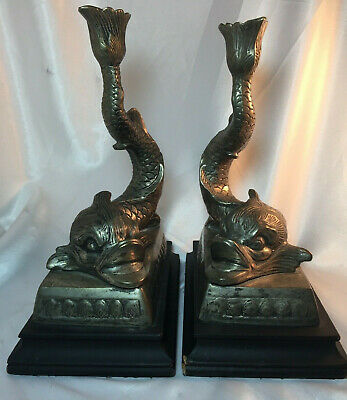 Brass Koi Fish Candlesticks Candle Holders Set of 2