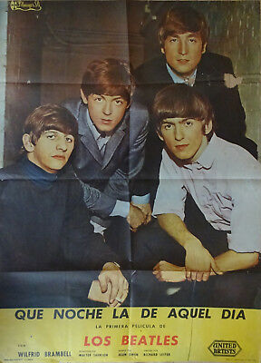 "Affiche Beatles originale ""Que noche la de quel dia"" Hard day's night 1964"