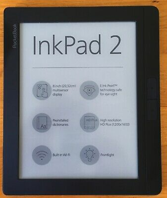 POCKETBOOK INKPAD 2 - 8'' Screen E-Book Reader + Original Cover + Memory Card