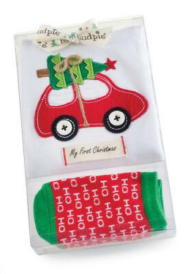 Mud Pie 'My First Christmas' Holiday Crawler Set - Size 0-6 months