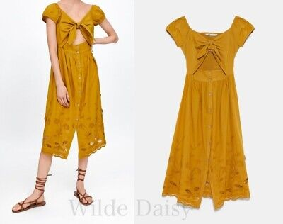 58c054f047 ZARA NEW EMBROIDERED Dress With Vent Yellow Mustard Long Midi Floral Size  Xs-L