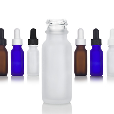 .5 oz / 15 ml Frosted Glass Boston Round Bottle - Select Color, Closure, & Pack