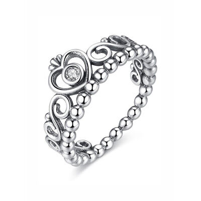 Tiara Princess Ring, Solid Sterling Siver, Hallmarked S925