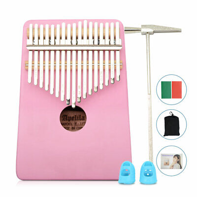 Kalimba 17 Key Thumb Piano Finger Mbira Mahogany Keyboard Music Instrument Pink
