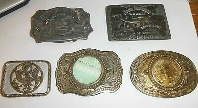 Lot Of 5 Belt Buckles Jack Daniels Navy Eagle 125 Years Nrs Picture Buckles