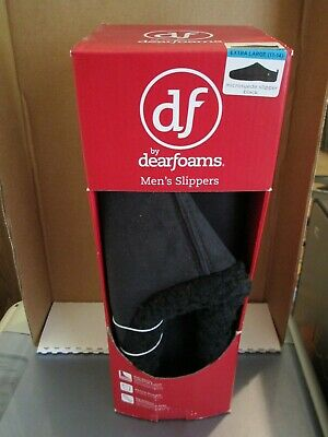 New Men's Black Microsuede Slippers X-Large DF by dearfoams FREE SHIP