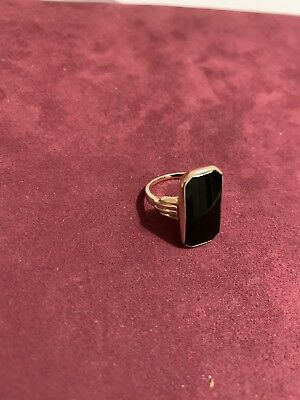 Vintage 14k Black Onxy Ring Size 5. With Hallmarks Church & Co 1920s