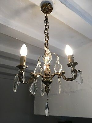 Vintage French Bronze Chandelier 3 Arm Ceiling Light Crystal Prisms