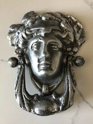 Pewter Or Iron Art Noveau Antique Woman Doorknocker