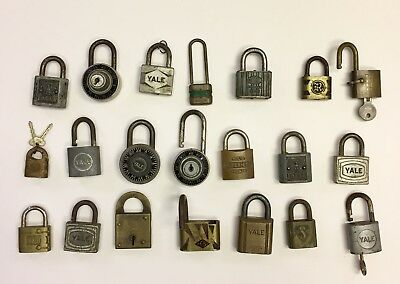 Lot Of 21 Vintage Padlocks Locks Brass Yale Slaymaker Hurd Eagle Padlock W/ Keys