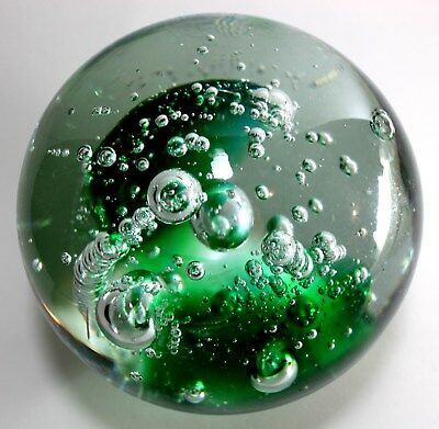 Vintage Handmade Bubbles Art Glass Large and Heavy Paperweight  BALL  5-1/4 inch
