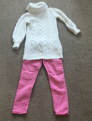BABY GAP  Toddler White Roll Neck Jumper and Pink/Red Trousers 5 years